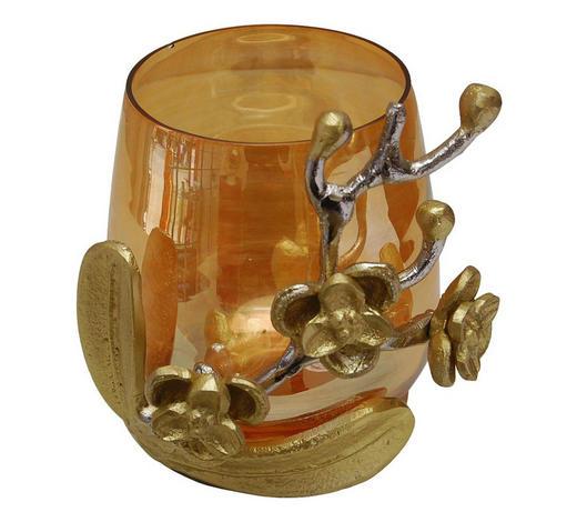 TEELICHTHALTER - Silberfarben/Goldfarben, KONVENTIONELL, Glas/Metall (17/22cm) - Ambia Home