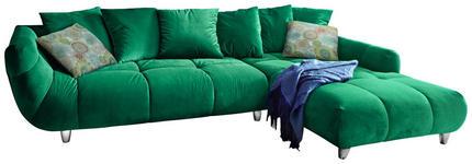 WOHNLANDSCHAFT Grün Samt - Chromfarben/Multicolor, Design, Kunststoff/Textil (315/215cm) - Hom`in
