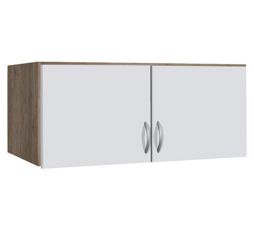 AUFSATZSCHRANK 91/39/54 cm Weiß, Eichefarben  - Eichefarben/Silberfarben, Design, Holzwerkstoff/Kunststoff (91/39/54cm) - Carryhome