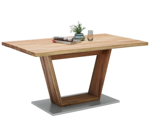 ESSTISCH in Holz 160/90/78,5 cm - Chromfarben/Eichefarben, Natur, Holz/Metall (160/90/78,5cm) - Linea Natura