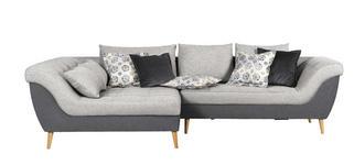 WOHNLANDSCHAFT in Textil Grau, Hellgrau  - Hellgrau/Naturfarben, Design, Holz/Textil (175/313cm) - Carryhome