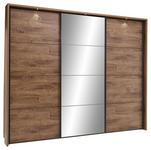 SCHWEBETÜRENSCHRANK 3-türig Graphitfarben, Eichefarben  - Eichefarben/Graphitfarben, Trend, Glas/Holzwerkstoff (270/225/58cm) - Xora