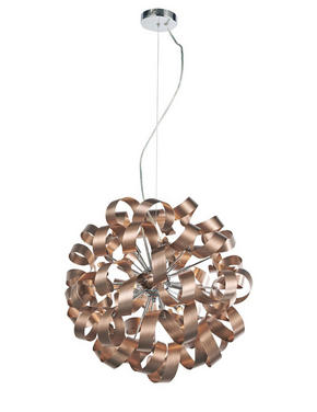LED-PENDELLAMPA - kromfärg/kopparfärgad, Design, metall (60/180cm) - Ambiente