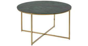 COUCHTISCH rund Grau, Grün, Goldfarben - Goldfarben/Grau, Trend, Glas/Metall (80/45cm) - Carryhome