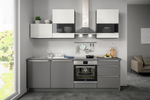 Küchenblock ohne E-Geräte Soft-Close-System, Spüle - Weiß/Grau, Design (240,5cm) - SetOne by Musterring