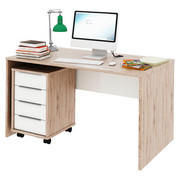 PSACÍ STŮL - bílá/barvy dubu, Design, dřevěný materiál (140/76/80cm) - Xora