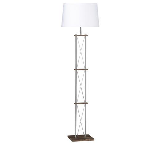 SVJETILJKA PODNA - bijela/boje nikla, Konvencionalno, tekstil/metal (160cm)