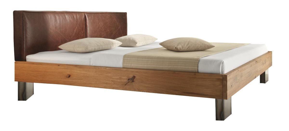 BALKENBETT Wildeiche massiv 180/210 cm - Eichefarben/Silberfarben, Design, Holz/Metall (180/210cm) - HASENA