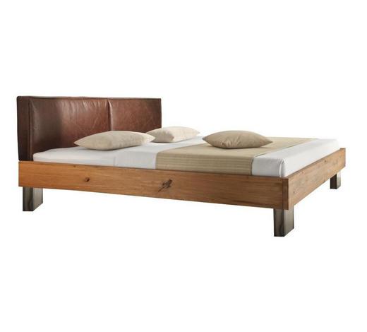 BETT in Eichefarben, Fango  - Fango/Eichefarben, Design, Leder/Holz (180/200cm) - Hasena