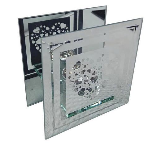 TEELICHTHALTER - Klar/Silberfarben, Basics, Glas (12/12/6,3cm) - Ambia Home
