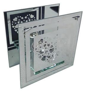 VÄRMELJUSHÅLLARE - klar/silver, Basics, glas (12/12/6,3cm) - Ambia Home