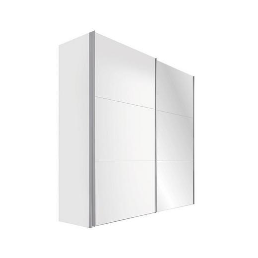 SCHWEBETÜRENSCHRANK 2  -türig Weiß - Alufarben/Weiß, KONVENTIONELL, Glas/Holzwerkstoff (200/216/68cm) - Hom`in