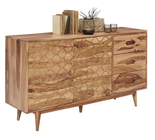 KOMODA, indijski rožni les  - zlata/indijski rožni les, Trendi, kovina/les (145/80/40cm) - Carryhome