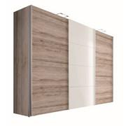 OMARA Z DRSNIMI VRATI, bela - aluminij/bela, Design, kovina/leseni material (300/216/68cm) - HOM`IN