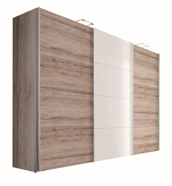 OMARA Z DRSNIMI VRATI - bela/barve aluminija, Design, kovina/leseni material (300/216/68cm) - HOM`IN