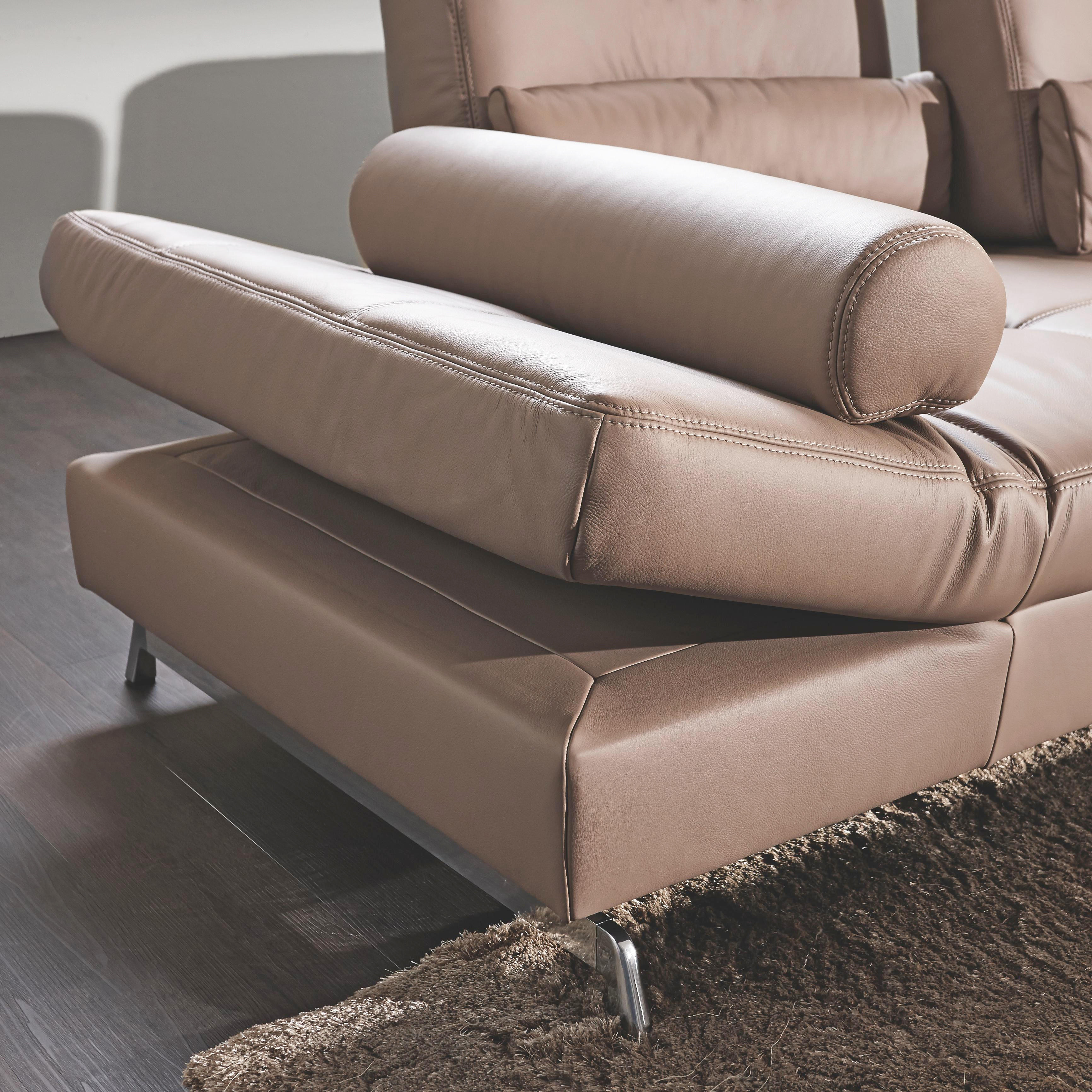 WOHNLANDSCHAFT Echtleder - Alufarben/Braun, Design, Leder/Metall (299/250cm) - JOOP!