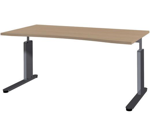 SCHREIBTISCH - Eichefarben/Anthrazit, Basics, Holzwerkstoff/Metall (160/68-82/80cm)