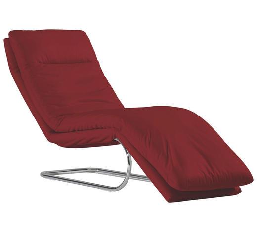 RELAXLIEGE Echtleder Rot  - Chromfarben/Rot, Design, Leder/Metall (65/101/158cm) - Chilliano