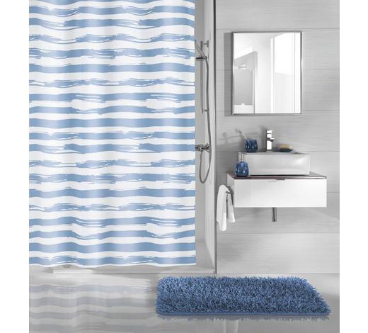 DUSCHVORHANG - Blau/Weiß, KONVENTIONELL, Kunststoff (180/200cm) - Kleine Wolke