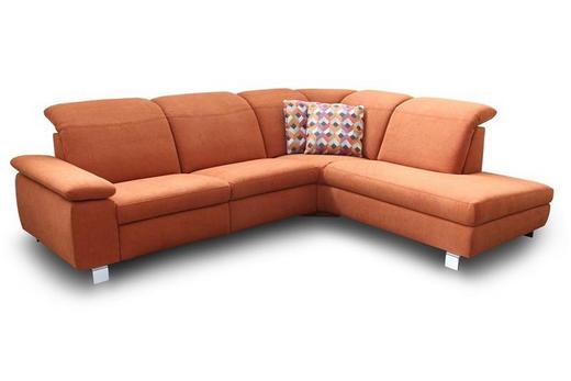 Ecksofa Flachgewebe Rücken echt - Chromfarben/Orange, KONVENTIONELL, Textil/Metall (283/230cm) - Venda