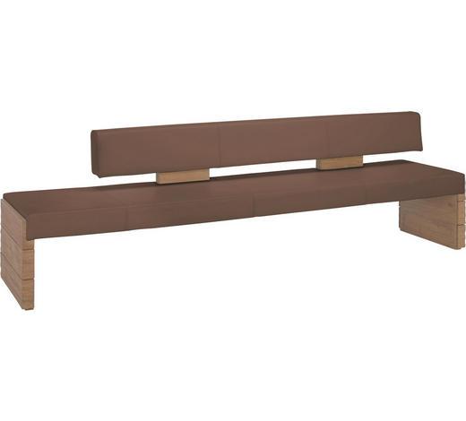 SITZBANK Echtleder Wildeiche massiv Braun, Eichefarben  - Eichefarben/Braun, KONVENTIONELL, Leder/Holz (274/84/65cm) - Voglauer