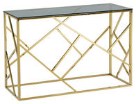 KONSOLENTISCH in Metall, Glas    - Blau/Goldfarben, Design, Glas/Metall - Xora