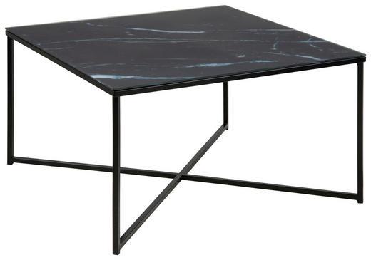COUCHTISCH quadratisch Schwarz, Weiß - Schwarz/Weiß, Design, Glas/Metall (80/80/45cm) - Carryhome