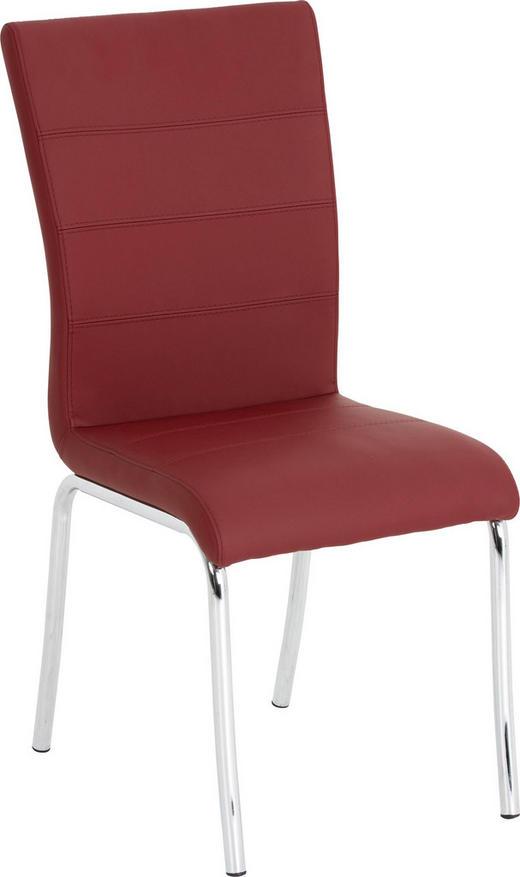 STUHL Lederlook Chromfarben, Rot - Chromfarben/Rot, Design, Textil/Metall (45/98/56cm) - Dieter Knoll