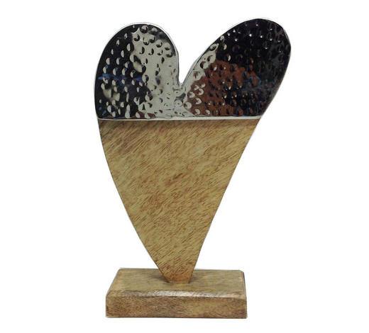 SRDCE DEKORAČNÍ - hnědá/barvy niklu, Lifestyle, kov/dřevo (21/13/6,25cm) - Ambia Home