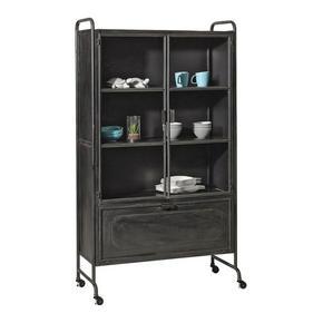 VITRINSKÅP - svart, Design, metall/glas (105/183,5/40,2cm) - Ambia Home