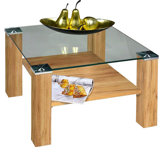 COUCHTISCH in Metall, Glas, Holzwerkstoff 75/75/42 cm - Eichefarben, Design, Glas/Holzwerkstoff (75/75/42cm)