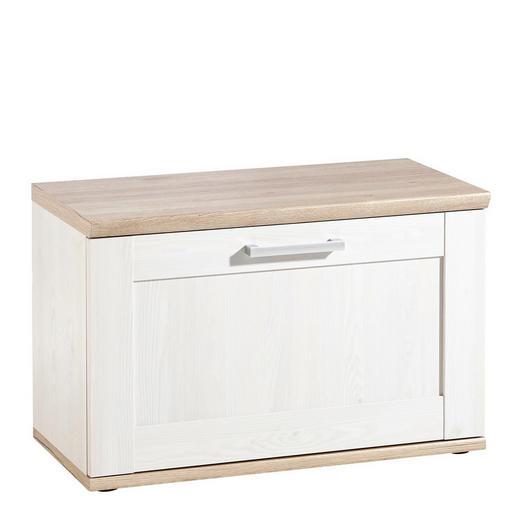 GARDEROBENBANK Weiß - Eichefarben/Silberfarben, Design, Kunststoff (76/50/38cm) - Xora