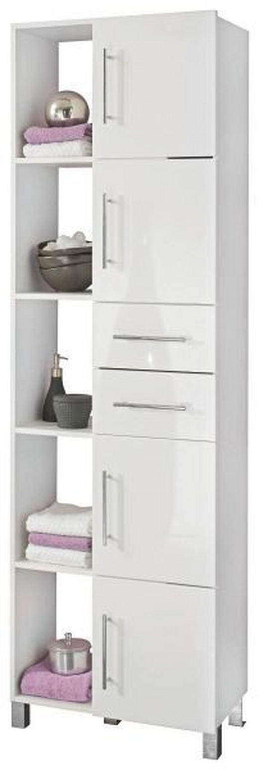 HOCHSCHRANK Weiß - Chromfarben/Weiß, Design, Holzwerkstoff/Kunststoff (50-75/195/31cm) - XORA