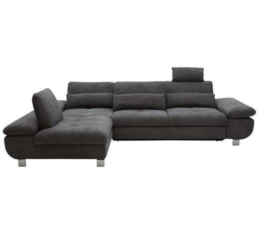 WOHNLANDSCHAFT in Textil Grau - Chromfarben/Grau, Design, Textil/Metall (203/310cm) - Venda