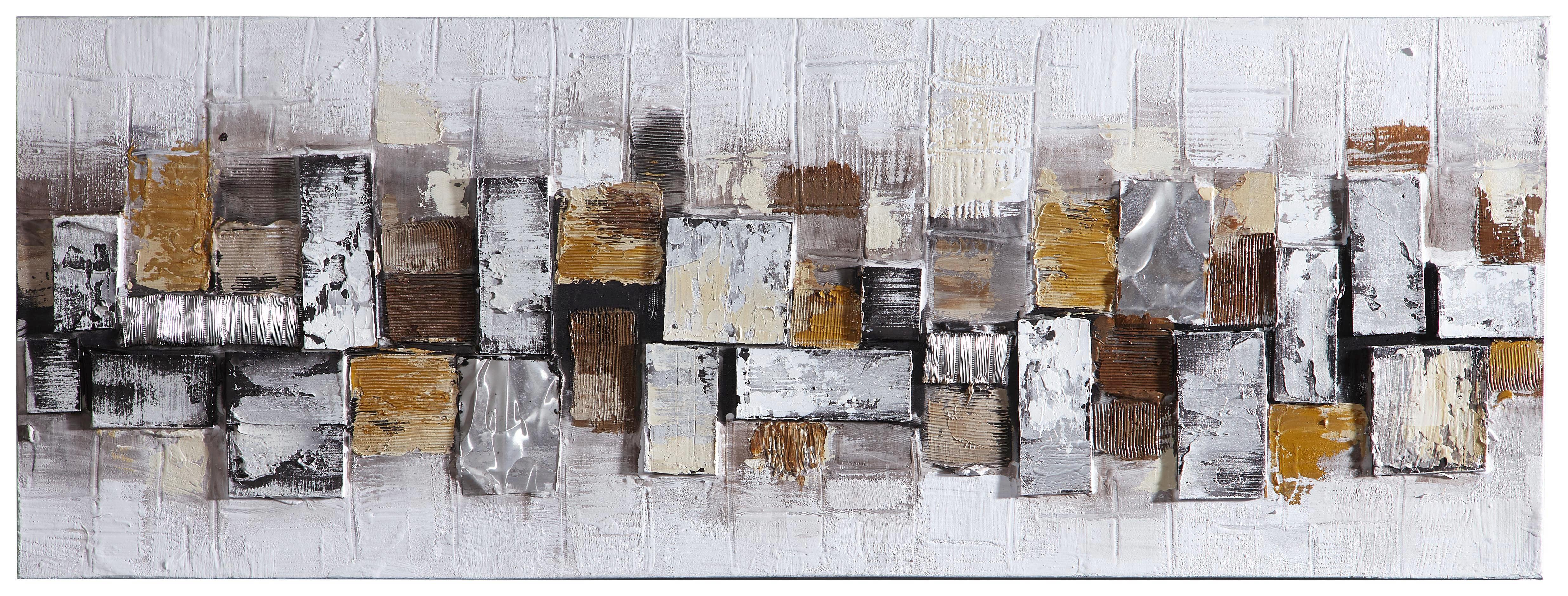 Abstraktes, Steine, Strukturen ÖLGEMÄLDE - Multicolor, Basics, Holz/Textil (150/55cm)