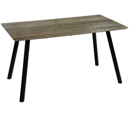 ESSTISCH in Metall, Holzwerkstoff 140/80/75 cm - Eichefarben/Schwarz, Design, Holzwerkstoff/Metall (140/80/75cm) - Carryhome
