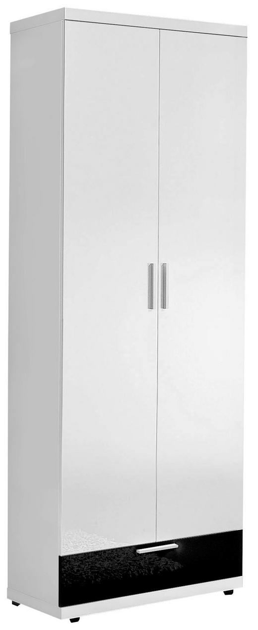 GARDEROBENSCHRANK Hochglanz, lackiert Schwarz, Weiß - Chromfarben/Schwarz, Basics, Holzwerkstoff/Metall (70/193/37cm)
