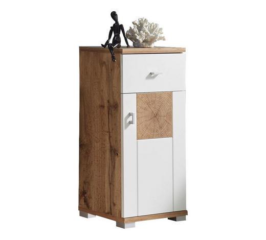 UNTERSCHRANK Weiß, Eichefarben  - Eichefarben/Silberfarben, Design, Holzwerkstoff/Kunststoff (38/80/30cm) - Livetastic