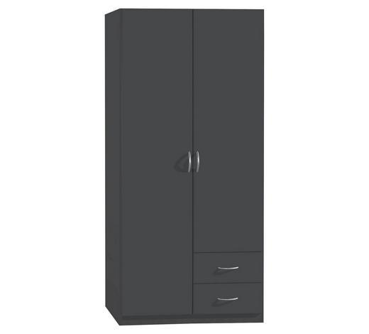 DREHTÜRENSCHRANK 2-türig Grau  - Silberfarben/Grau, Design, Holzwerkstoff/Kunststoff (91/197/54cm) - Carryhome