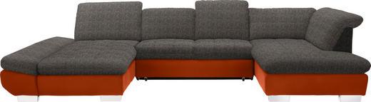 WOHNLANDSCHAFT in Textil Braun, Orange - Chromfarben/Braun, Design, Kunststoff/Textil (204/350/211cm) - Xora