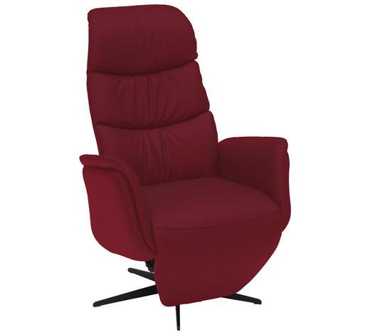 RELAXSESSEL in Leder Rot - Rot/Schwarz, Design, Leder/Metall (77/114/86cm) - Welnova