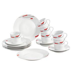 KAFFESERVIS - vit/röd, Klassisk, keramik - Boxxx