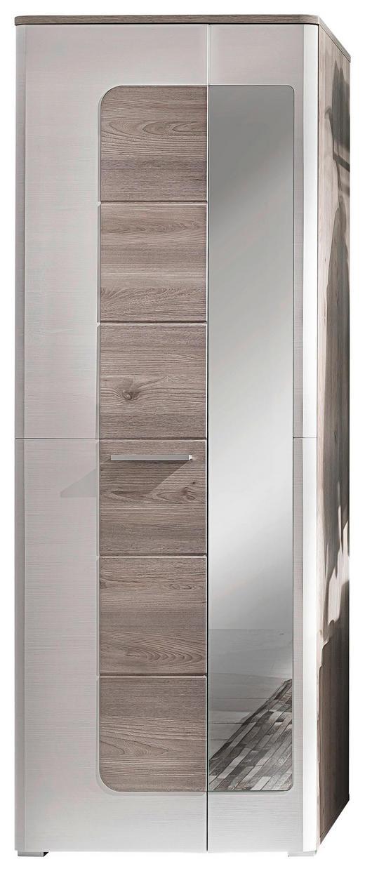GARDEROBENSCHRANK Eichefarben, Weiß - Eichefarben/Alufarben, Design, Glas/Holzwerkstoff (70/196/38cm) - Carryhome