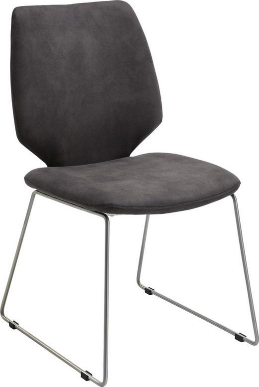 STUHL Edelstahlfarben, Graphitfarben - Edelstahlfarben/Graphitfarben, Design, Textil/Metall (49/90/60cm) - Valdera
