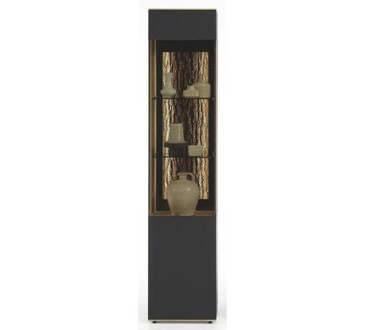VITRINE Kerneiche vollmassiv Anthrazit, Eichefarben  - Eichefarben/Anthrazit, Design, Glas/Holz (43/205/44cm) - Valnatura