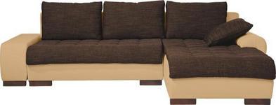 WOHNLANDSCHAFT in Textil Naturfarben, Dunkelbraun  - Wengefarben/Dunkelbraun, Design, Holz/Textil (278/198cm) - Carryhome