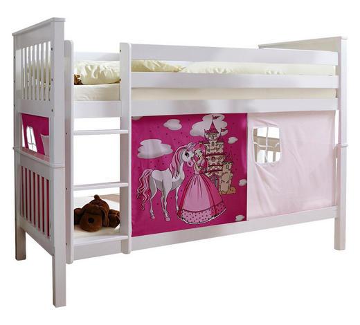 ETAGENBETT Buche massiv 90/200 cm Weiß, Pink Weiß  - Pink/Weiß, MODERN, Holz (90/200cm) - Carryhome