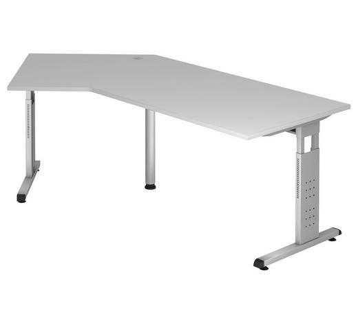 SCHREIBTISCH - Silberfarben/Grau, KONVENTIONELL, Holzwerkstoff/Metall (200/65 (85)/120cm)