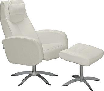 RELAXFÅTÖLJ SET - vit/kromfärg, Design, metall/läder (74/105/75cm) - Welnova