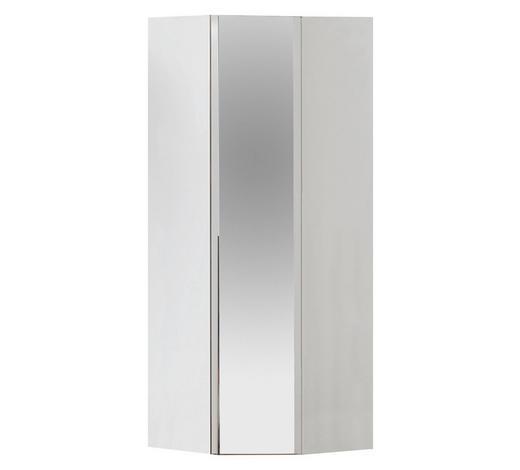 ECKSCHRANK in Weiß - Chromfarben/Weiß, Design, Glas/Holzwerkstoff (92,3/236/92,3cm) - Hom`in